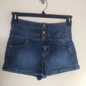 Tinseltown Triple-Stacked blue high waist Shorts